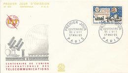 DC-1437 - FDC 1965 - 100 YEARS TELECOMMUNICATION ITU - UIT - MORSE TELEPHONE TELEGRAPH SATELLITE - FRANCE - Telecom