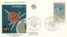 DC-1441 - FDC 1965 - 100 YEARS TELECOMMUNICATION ITU - UIT - MORSE TELEPHONE TELEGRAPH SATELLITE - COMORES - Telecom