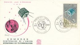 DC-1442 - FDC 1965 - 100 YEARS TELECOMMUNICATION ITU - UIT - MORSE TELEPHONE TELEGRAPH SATELLITE - COMORES - Telecom