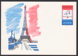 La Tour Eiffel Paris Eiffelturm Philexfrance 1989, DDR-Ganzsache Ungebraucht - [6] República Democrática