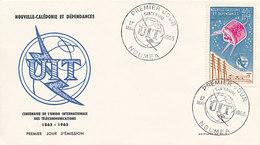DC-1443 - FDC 1965 - 100 YEARS TELECOMMUNICATION ITU - UIT - MORSE TELEPHONE TELEGRAPH SATELLITE - CALEDONIA - Telecom