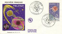DC-1444 - FDC 1965 - 100 YEARS TELECOMMUNICATION ITU - UIT - MORSE TELEPHONE TELEGRAPH SATELLITE - POLYNESIA - Telecom