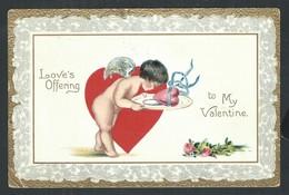 +++ CPA - Carte Fantaisie - Fantasy Card - Valentine St Valentin - Love - Ange Angelot Chérubin - Dorure - Embossed   // - Anges