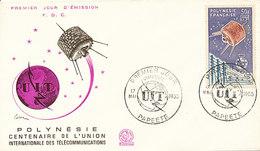 DC-1445 - FDC 1965 - 100 YEARS TELECOMMUNICATION ITU - UIT - MORSE TELEPHONE TELEGRAPH SATELLITE - POLYNESIA - Telecom