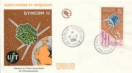 DC-1446 - FDC 1965 - 100 YEARS TELECOMMUNICATION ITU - UIT - MORSE TELEPHONE TELEGRAPH SATELLITE - S-P MIQUELON - Telecom