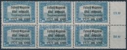 ** Nyugat - Magyarország I  2,50K ívszéli Hatostömb 3 Hármaslyukasztású Bélyeggel, Bodor Vizsgálójellel (162.000) / Marg - Timbres