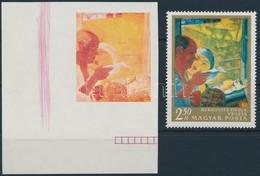 (*) 1967 Festmények III. 2,50Ft ívsarki Vágott Bélyeg Kék, Fekete és Arany Színnyomat Nélkül. A Szakirodalomban Ismeretl - Timbres