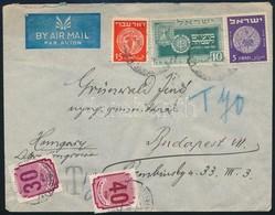 1950 Levél Palesztinából, Rajta 30f és 40f Portóbélyeg, Utóbbi Látványosan Jobbra Tolódott értékjelzéssel - Timbres