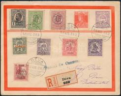 1919 Kolozsvári Felülnyomású Bélyegek Déva Helyi Ajánlott Levélem, Vegyes Bérmentesítés Román Bélyegekkel, Cenzúra Bélye - Timbres