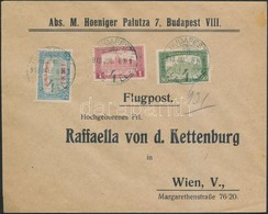 1918. Jul. 8. Légi Levél Bécsbe 1K50f Repülő Posta Bélyeggel és 1.80K Kiegészítő Bérmentesítéssel / Mi 210 With Addition - Timbres