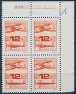 ** 1988 Repüléstörténet 12 Ft, Fényes Képoldal, Matt Sávozott Gumi, ívsarki Négyestömb (24.000) - Timbres