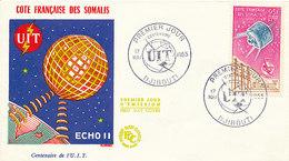 DC-1451 - FDC 1965 - 100 YEARS TELECOMMUNICATION ITU - UIT - MORSE TELEPHONE TELEGRAPH SATELLITE - FRENCH SOMALIS - Telecom