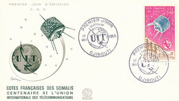 DC-1452 - FDC 1965 - 100 YEARS TELECOMMUNICATION ITU - UIT - MORSE TELEPHONE TELEGRAPH SATELLITE - FRENCH SOMALIS - Telecom