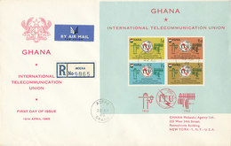 DC-1456 - FDC 1965 - 100 YEARS TELECOMMUNICATION ITU - UIT - MORSE TELEPHONE TELEGRAPH SATELLITE - GHANA BLOCK - Telecom
