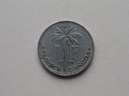 1928 - 1 Franc ( KM 21 ) Uncleaned ! - Congo (Belge) & Ruanda-Urundi