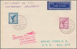 Flug-Schiffspost Mit LUFTPOST Zum Dampfer COLUMBUS Befördert, KÖLN 5.8.1931 - Timbres