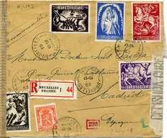 BELGIUM. NICE REGISTERED COVER TO SPAIN 1944. - Usados