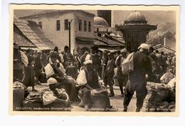 BOSNIA Sarajevo Bašcaršija Markt 1939 OLD PHOTO POSTCARD 2 Scans - Bosnia And Herzegovina