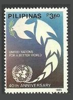 PHILIPPINES 1985 UNO 40TH ANNIVERSARY DOVE EMBLEM SET MNH - Philippines