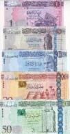 LIBYA 1 5 10 20 50 DINAR 2013 2015 P-76 79 80 81 82  UNC SET */* - Libië