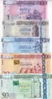 LIBYA 1 5 10 20 50 DINAR 2013 2015 P-76 79 80 81 82  UNC SET */* - Libya
