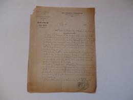 Lettre De La Mairie De Cuy (Yonne). Procés Verbal De Déclaration D'accident Du Travail De Cerneau Désiré. - France
