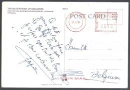 Affranchissement EMA 040 Cents Sur CP The Waterfront Of Singapore 1985 - Singapour (1959-...)