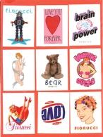 STICKERS FIORUCCI ARGENTO-TEMI:PIN UPS-NUDI-MODA-AMORINI-BAMBINI-PUTTINI-NUDE-BARE-LOTTO DI 30 FIGURINE - Stickers