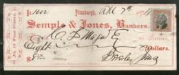 United States 1874 Semple & Jones Bankes Pittsburgh Used Check Revenue # 6711G - Assegni & Assegni Di Viaggio