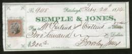 United States 1874 Semple & Jones Bankes Pittsburgh Used Check Revenue # 6711L - Chèques & Chèques De Voyage