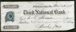United States 1875 Third National Bank Pittsburgh Used Check With Revenue #6711K - Cheques & Traveler's Cheques