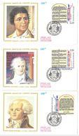 FDC Bicentenaire Révolution Droits De L'Homme : Marat Danton Robespierre Saint Just (4 Env) (78 Versailles 26/08/1989) - FDC
