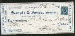 United States 1876 Semple & Jones Bankes Pittsburgh Used Check Revenue # 6711C - Chèques & Chèques De Voyage