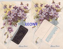 """CPA """" BONNE ANNEE - FLEURS VIOLETTES Et CALENDRIER COMPLET 1912 """" - CARTE SYSTEME  Signée A RENAULT - Cartoline Con Meccanismi"""
