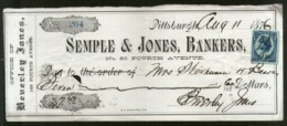 United States 1876 Semple & Jones Bankes Pittsburgh Used Check Revenue # 6711E - Cheques & Traveler's Cheques