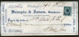 United States 1876 Semple & Jones Bankes Pittsburgh Used Check Revenue # 6711F - Chèques & Chèques De Voyage