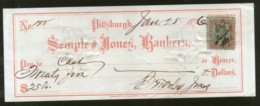 United States 1876 Semple & Jones Bankes Pittsburgh Used Check Revenue # 6711I - Chèques & Chèques De Voyage
