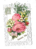 10945 - CPA Fantaisie Découpis Fleurs, Heureuse Fête - Met Mechanische Systemen