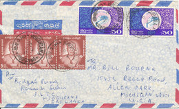 Ceylon Air Mail Cover Sent To USA 8-4-1974 With Stamps On Front And Backside Of The Cover - Sri Lanka (Ceylon) (1948-...)