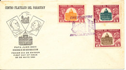 Paraguay FDC Paul VI Visit To Paraguay 23-5-1964 Complete Set Of 3 With Cachet - Paraguay