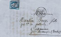 Timbre N° 60 A Sur Lettre. Tampon Type 14 De 1874. Gros Points N°3981. - 1871-1875 Cérès