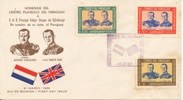 Paraguay FDC 9-3-1962 Prince Phillip Royal Visit To Paraguay Complete Set Of 3 With Cachet - Paraguay