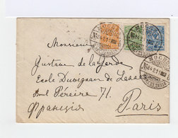 Sur Enveloppe Trois Timbres Empire Russe Armoiries 7k. Bleu, 1k. Orange, 2k. Vert. CAD Mockba 1911. (903) - 1857-1916 Empire