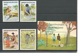 CONGO Scott 631-634, 635 Yvert 663-666, BF29 (4+bloc) ** Cote 13,25 $ 1982 - Congo - Brazzaville