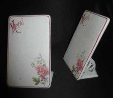 Ancien 2 Support à Menu En Porcelaine Peinte Art Nouveau Fin XIX ème - Ceramics & Pottery
