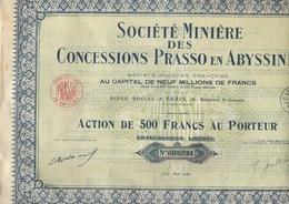 SOCIETE MINIERE DES CONCESSIONS PRASSO EN ABYSSINIE -ACTION DE 500 FRS -ANNEE 1926 - Mines