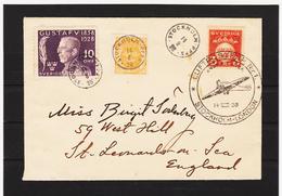 LKW590 SCHWEDEN 1928 LUFTPOSTBRIEF STOCKHOLM-LONDON  ZÄHNUNG Und STEMPEL SIEHE ABBILDUNG - Briefe U. Dokumente