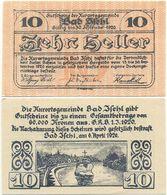 Bad Ischl, 1 Schein Notgeld 1920, Kruzifix Im Fluss Traun, Österreich 10 Heller - Oesterreich