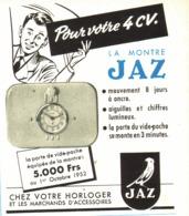 """PUB ( BLEU )  MONTRE  """" JAZ  """" Pour 4CV RENAULT  1952 ( 2 ) - Transports"""