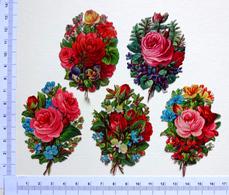 5 CHROMOS DECOUPIS.... BOUQUETS DE  FLEURS DIVERSES.....ROSES - Fleurs